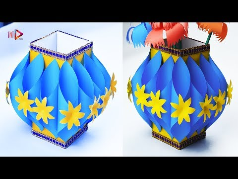 Making Paper Flower Vase | How to Make A Flower Pot At Home | Simple Paper Craft