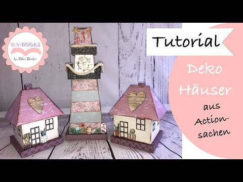 DIY * Deko Häuser aus meinem Action Haul * Paper House * basteln mit Papier * Tutorial