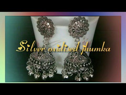 Silver oxidized jhumka