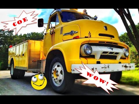 Old 1954 Ford C800 Coe Big Job Ex Topeka Fire Truck With