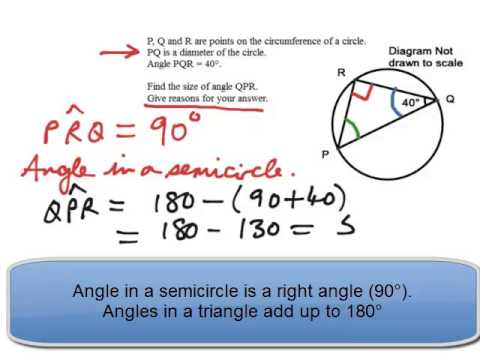 Circle Theorems Angle In A Semicircle Examination Style Question 6