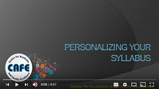 Personalizing Your Syllabus