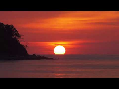 Relaxing Sounds Nature - Tropical Sunset - 4k Real-time - Water Ocean Beach - Sleep Study Meditation