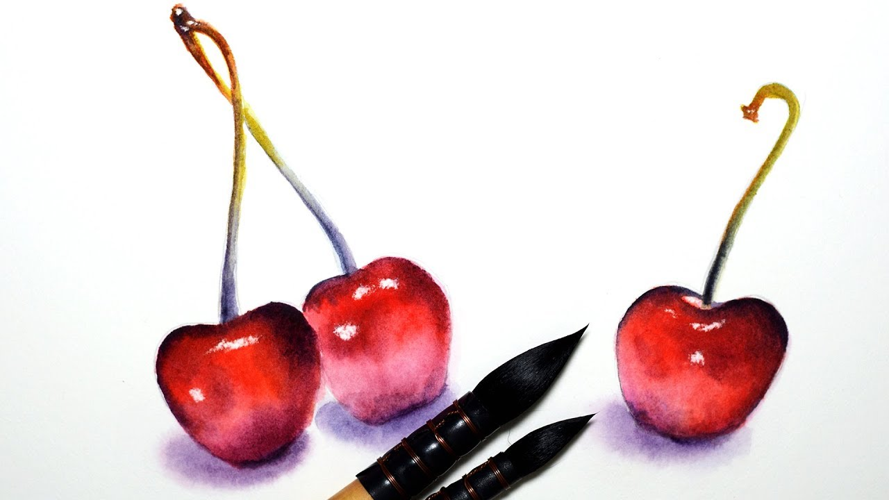 How To Paint Cherry In Watercolor Step By Step Tutorial