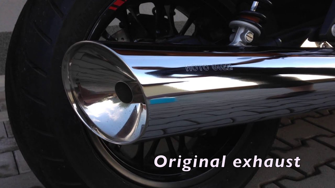 motto guzzi california 1400 custom original exhaust vs. Black Bedroom Furniture Sets. Home Design Ideas