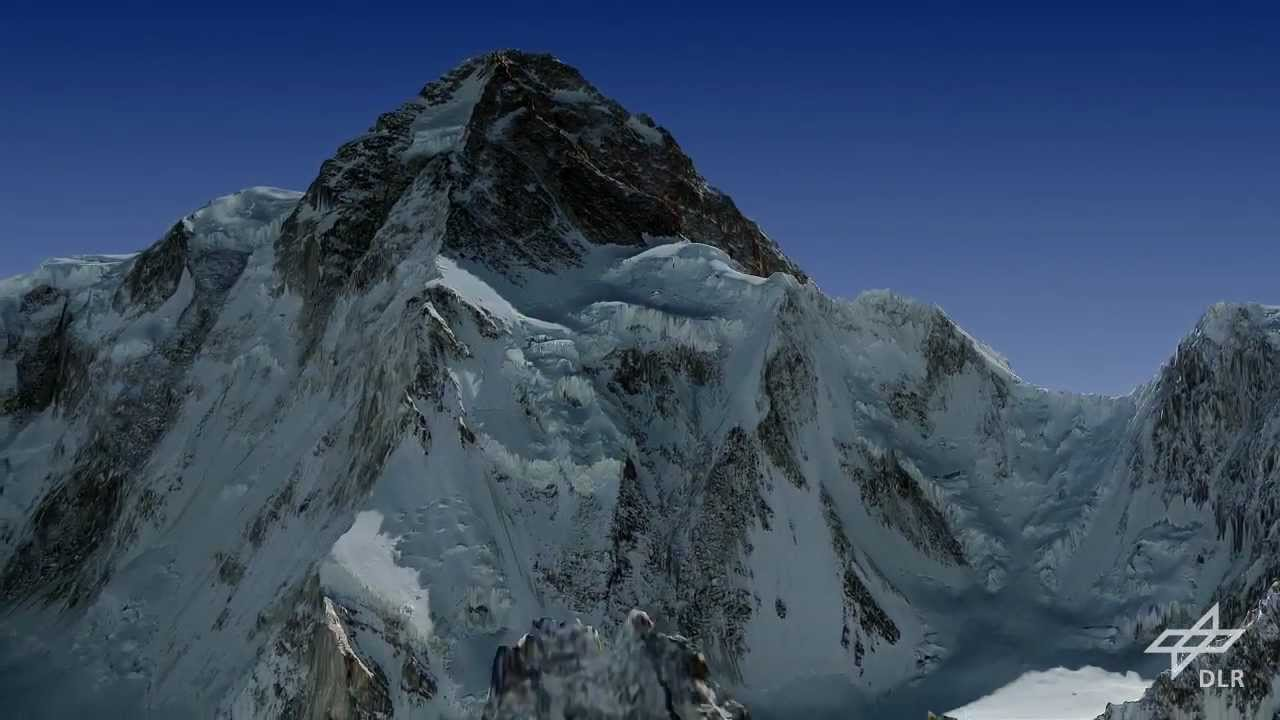 Virtual Flight Around K2 Mountain North Pillar