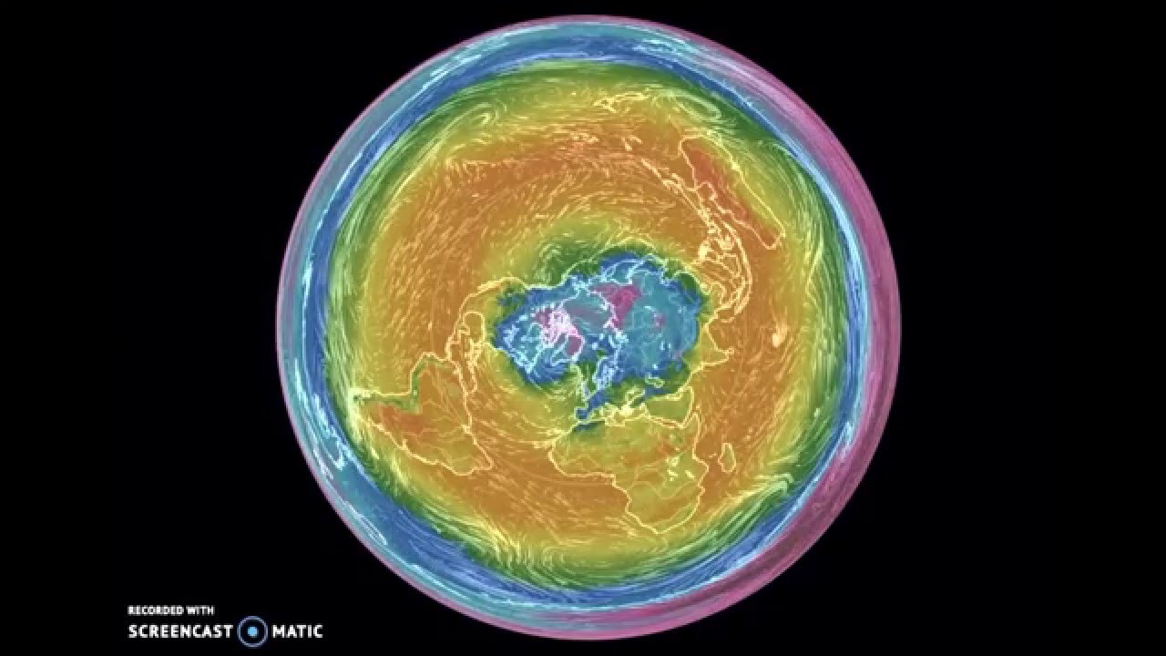 Azimuthal Equidistant Temperature & Wind Map   YouTube