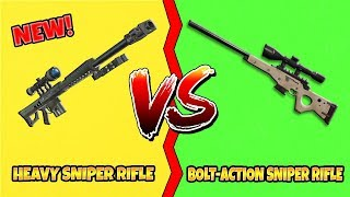 FORTNITE NEW HEAVY SNIPER RIFLE VS BOLT ACTION SNIPER RIFLE! WHAT'S THE BEST SNIPER?