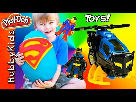 Giant SUPERMAN Surprise Egg! Batman Toys + Superhero Surprise Eggs. Imaginext Fun HobbyKidsVids