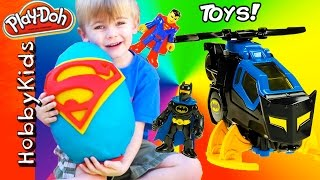 giant superman surprise egg batman toys superhero surprise eggs imaginext fun hobbykidsvids