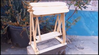 Popsicle stick craft/ mini swing / DIY. by Craftbunch