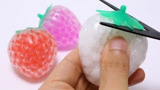 Strawberry Orbeez Squeeze Toys Cutting Open