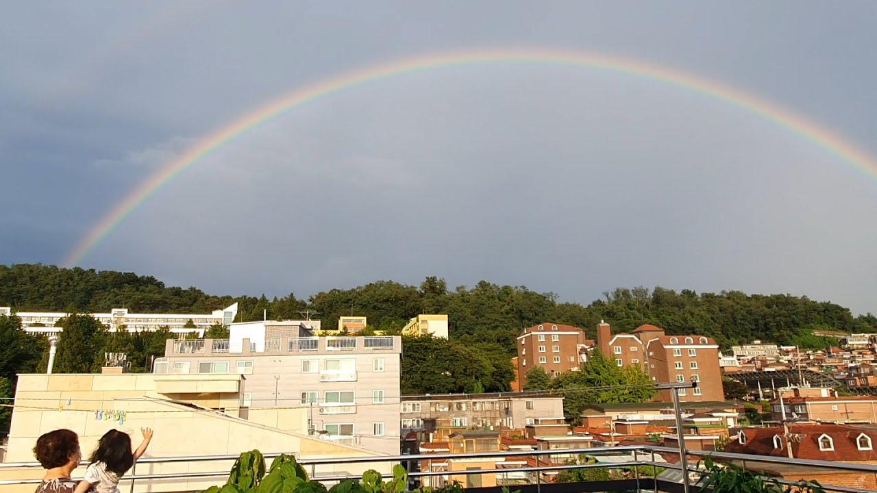 역대급 무지개를 본 딸 반응 (Daughter's reaction to seeing the rainbow )