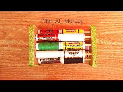 Diy  Thread reels Organizer  | cardboard | Wood sticks