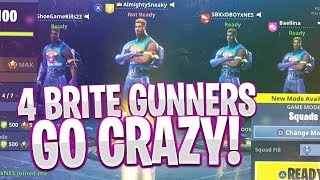 *NEW* UNSTOPPABLE BRITE GUNNER SKIN 😈 4 BRITE GUNNER SKINS WIN ON FORTNITE BATTLE ROYALE 🔥