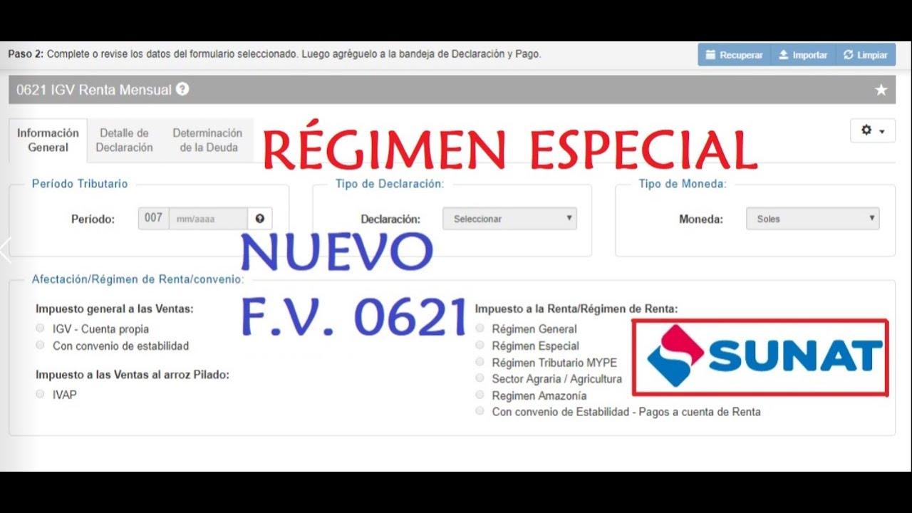 Nueva declaración igv renta mensual 0621 2018 régimen especial.