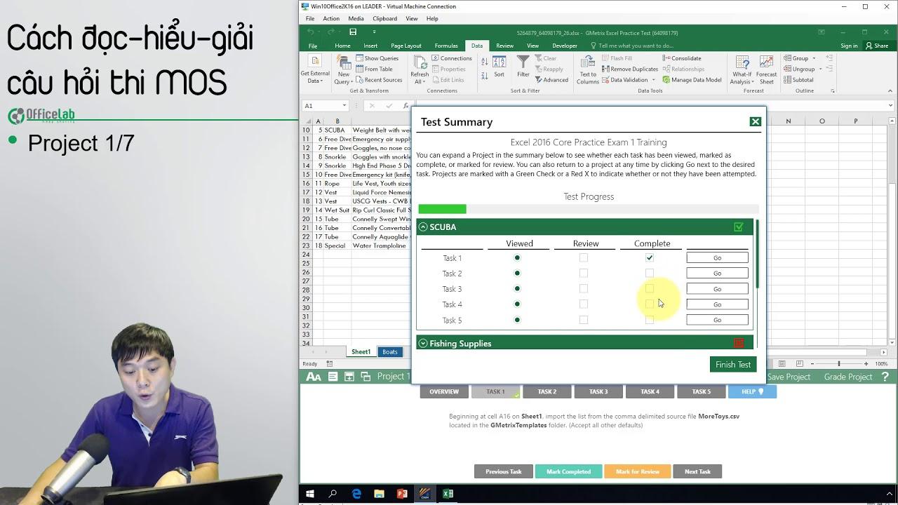 Thi MOS Excel 2016: 3.1. Hướng dẫn giải câu hỏi thi