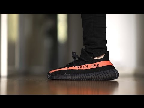 258f94861 Adidas Yeezy Boost 350 v2 Black Red    Unboxing and On Feet - YouTube