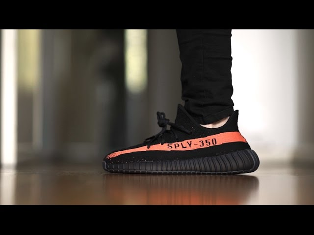 cb317ad6c2e low price yeezy boost 350 v2 black red on feet 79154 89b63