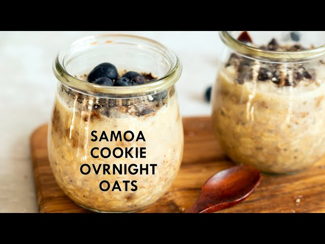 SAMOA COOKIE OVERNIGHT OATS! Date Caramel, Toasted Coconut, Chocolate Oatmeal - Vegan Richa Recipes