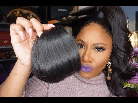 Black hair with fringe
