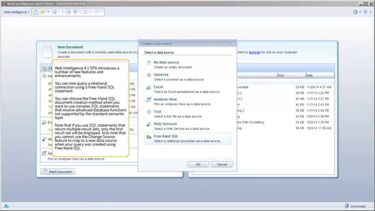 Whats new sap businessobjects web intelligence 41 sp6 youtube baditri Image collections