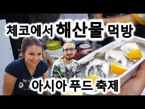 [꾼맨 알렝꼬] 체코 프라하 게스트 안나 혼자 비트와 함께 아시아 푸드 축제 굴 과 번데기 먹방 ! Praha Asia food festival