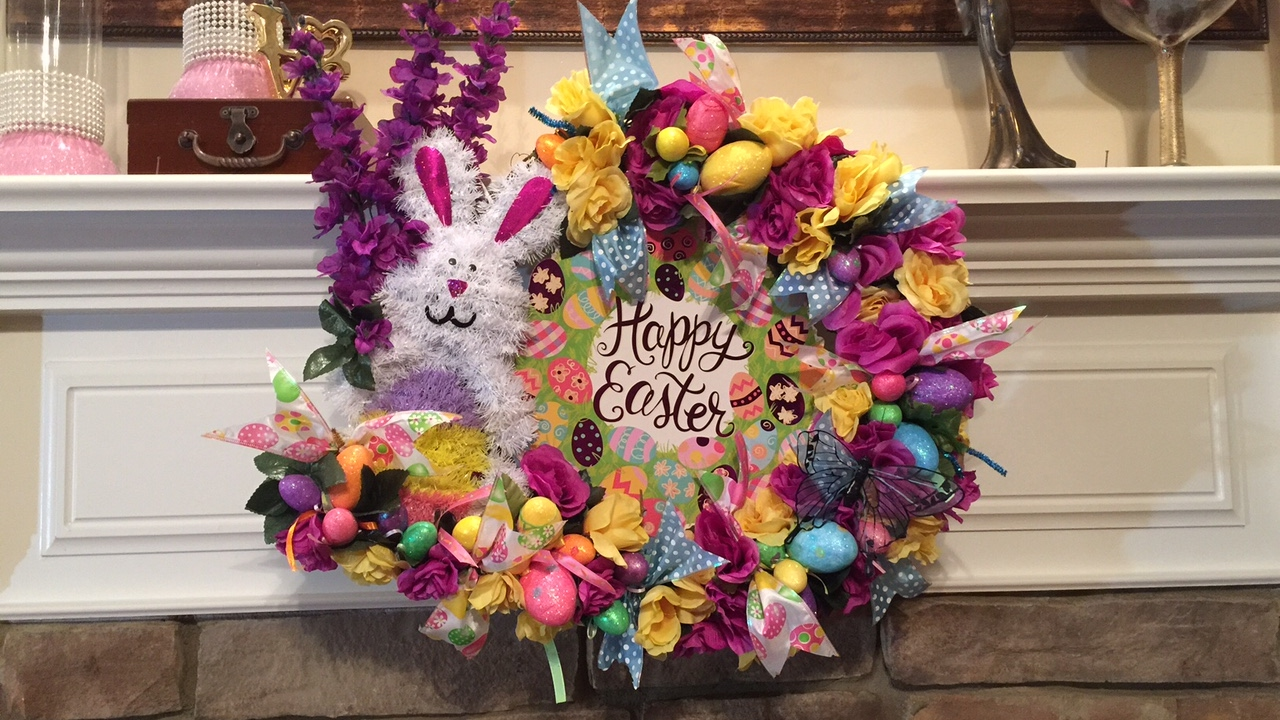 dollar tree easter wreath ez do it yourself dollartree supplies make it a bargain youtube