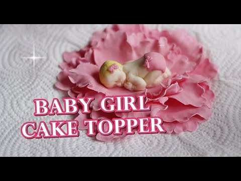 HOW TO MAKE A CUTE FONDANT BABY GIRL CAKE TOPPER TUTORIAL | INTHEKITCHENWITHELISA
