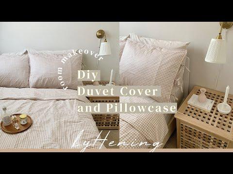 MAKEOVER KAMAR | DIY Bed Cover dan Sarung Bantal | DEKOR KAMAR ALA KOREA - YouTube