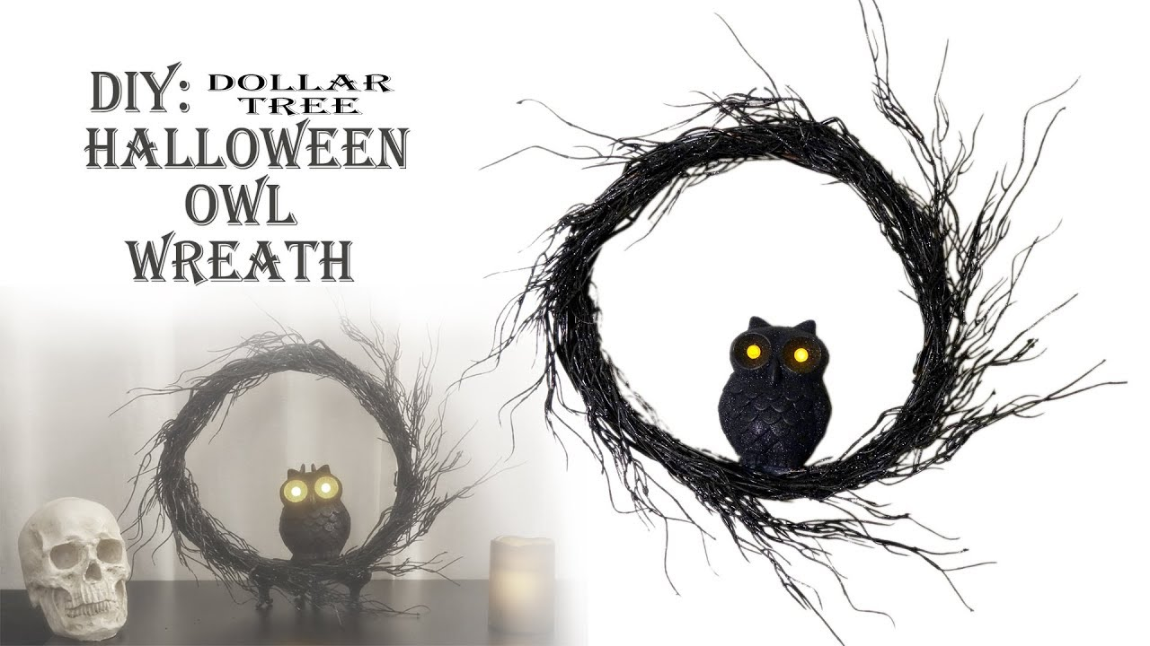 halloween diy dollar tree owl willow wreath