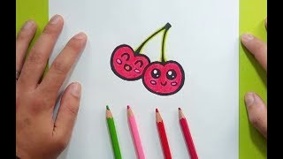 Como dibujar unas cerezas paso a paso 2 | How to draw some cherries 2