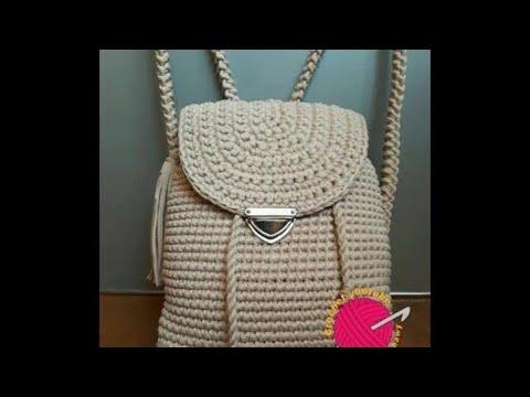 aecb188f023e1 شنطة ظهر بخيط الكليم ⚘ How To Crochet Back Bag   قناة كروشيه يوتيوب   كروشيه يوتيوب · Crochet YouTube Channel