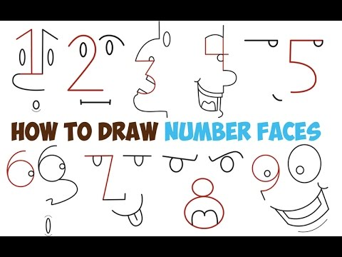 How to draw cartoon faces of people from numbers 1 9 for kids and beginners step by step easy