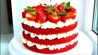 Торт Красный бархат на СКОВОРОДЕ Торт на сковороде Red Velvet Торт с клубникой ТОРТ Без ВЫПЕЧКИ