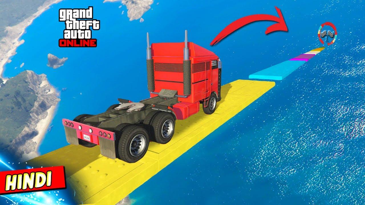 GTA 5 : MASSIVE HAULER TRUCK PARKOUR ON FALLING RAMPS 🚚❌