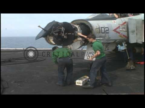 Flight Deck Activities Aboard USS Coral Sea (CVA 43) In South China Sea During Vi...HD Stock Footage