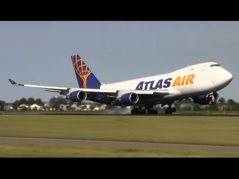 (HD) 35 minutes of Plane spotting at Amsterdam airport schiphol - 70 planes in action!