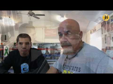 """Boxer Manuel """"Tino"""" Avila and trainer Max Garcia speak about upcoming bout at Garcia Boxing gym in S"""