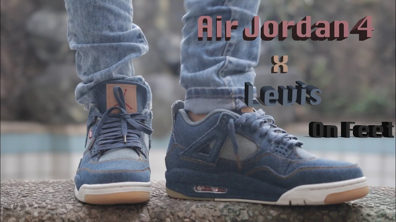 14168b3384ad29 Air Jordan 4 Retro Levis On Feet - YouTube