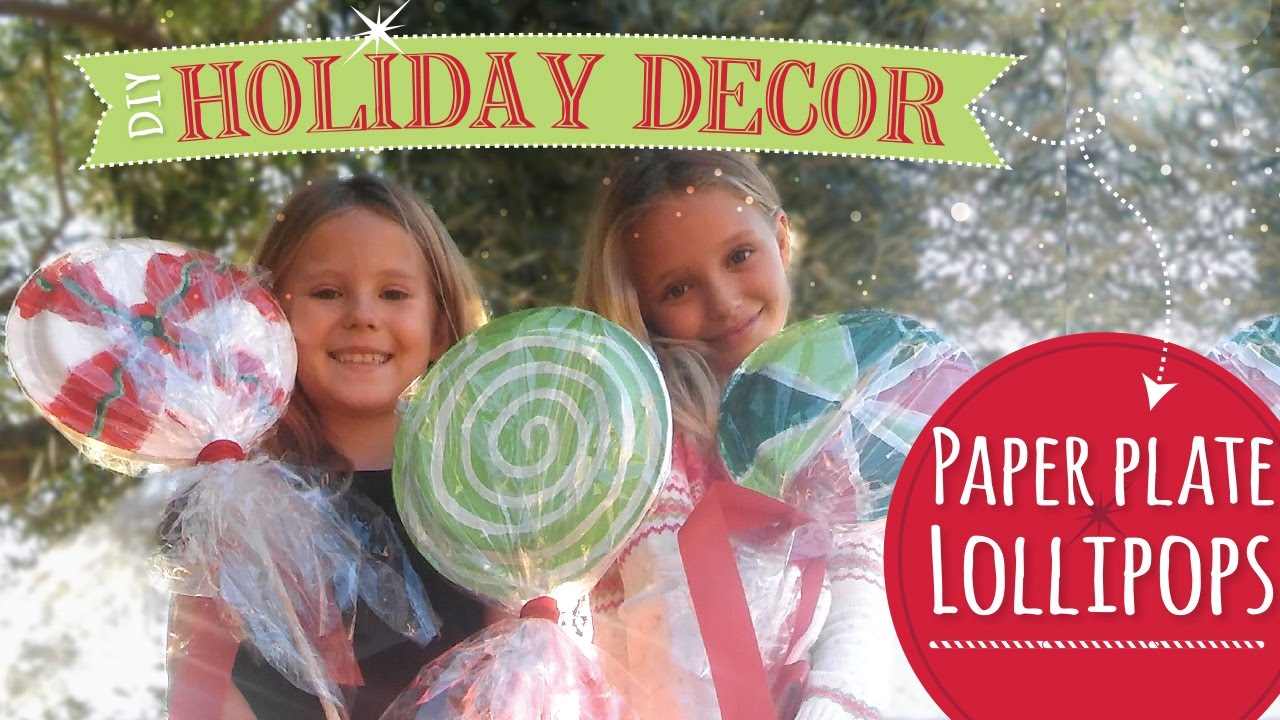 diy christmas decorations paper plate lollipops easy christmas craft youtube