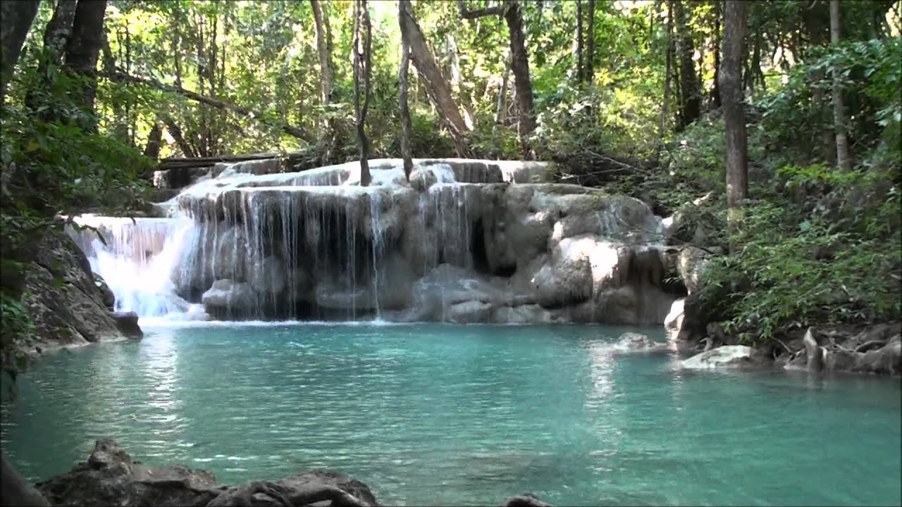 Free Fall Waterfall Desktop Wallpaper Erawan Falls Kanchanaburi Thailand Youtube
