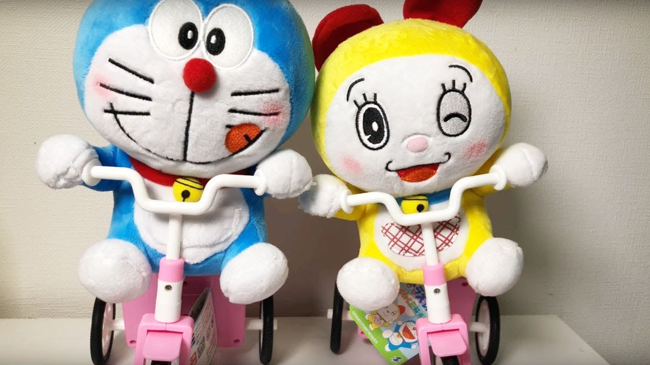 Doraemon and Dorami Battery Operated Tricycle Plush Toy Video For Kids