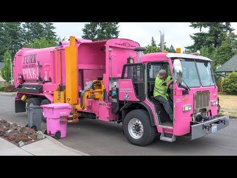 Waste Connections' Pink Recycling Truck!