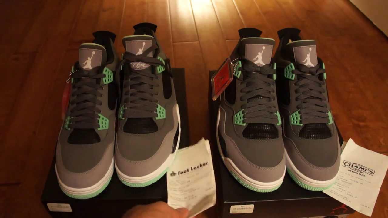 Air Jordan 4 Lueur Verte Réelle Vs Faux