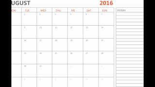 Printable August 2016 calendar with holidays and notes