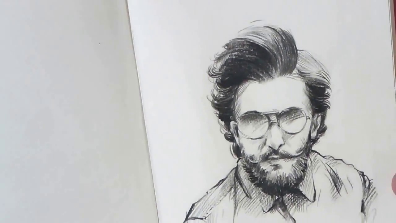 Ranveer singh small pencil sketch artist amar kale