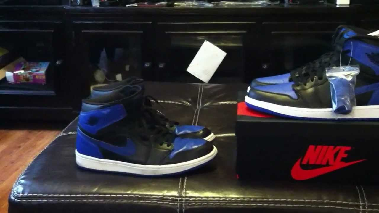 87f97b940bed Nike Air Jordan 1 Black Royal 2001 vs. 2013 Release - YouTube