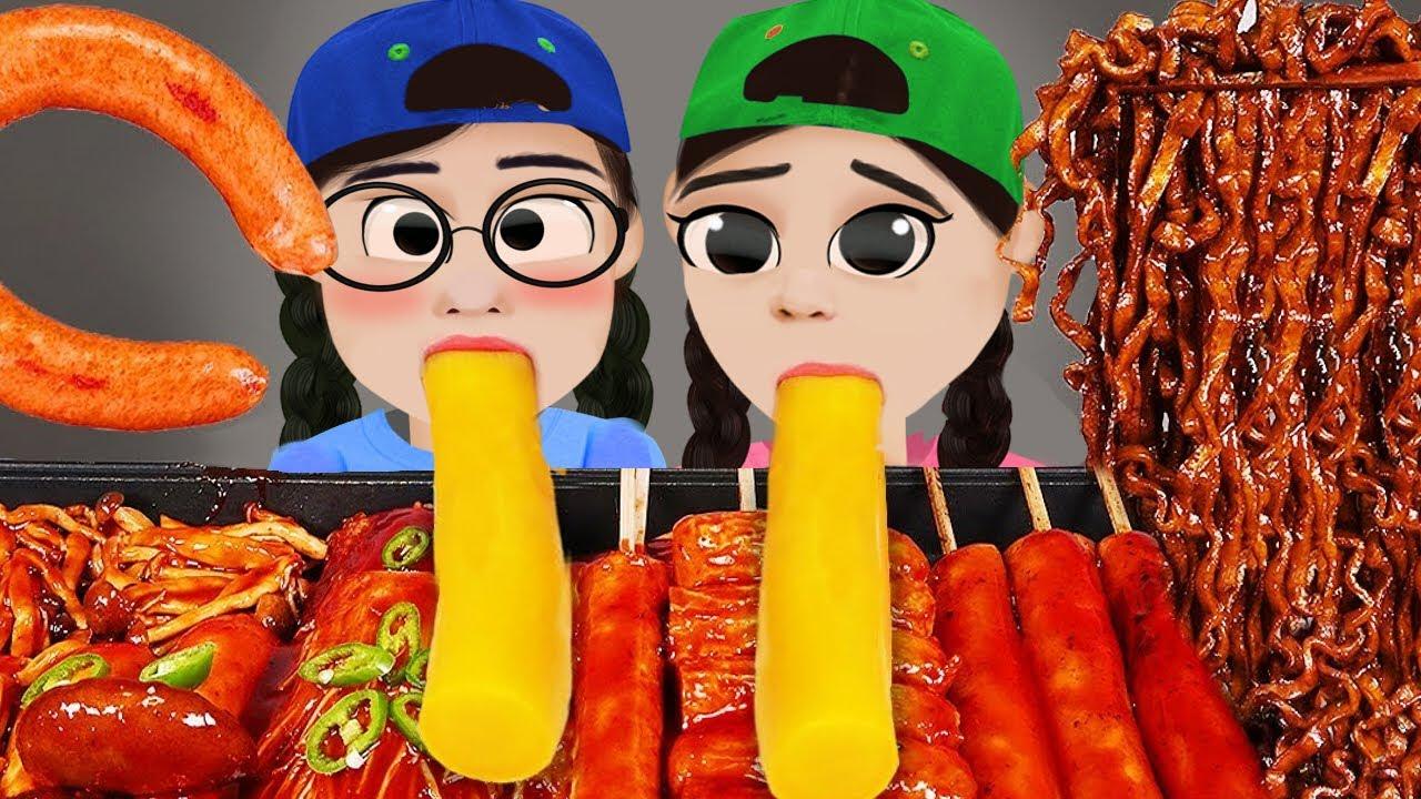 Dona 도나 animation  짜장면 떡볶이 먹방 Black Noodle TTeokbokki Mukbang