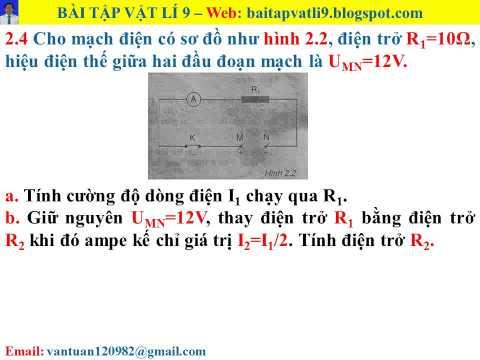 Bài tập vật lí 9 - Bài 2 - Câu 2.4